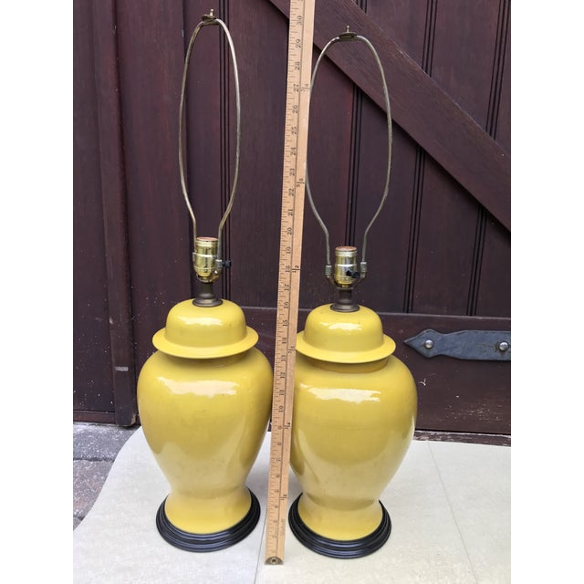 Vintage Ginger Jar Style Yellow Lamps - A Pair - Image 5 of 7