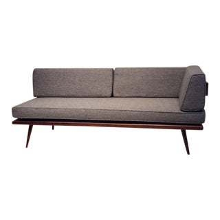 Mid-Century Danish Design Teak Daybed With Brass Accents For Sale