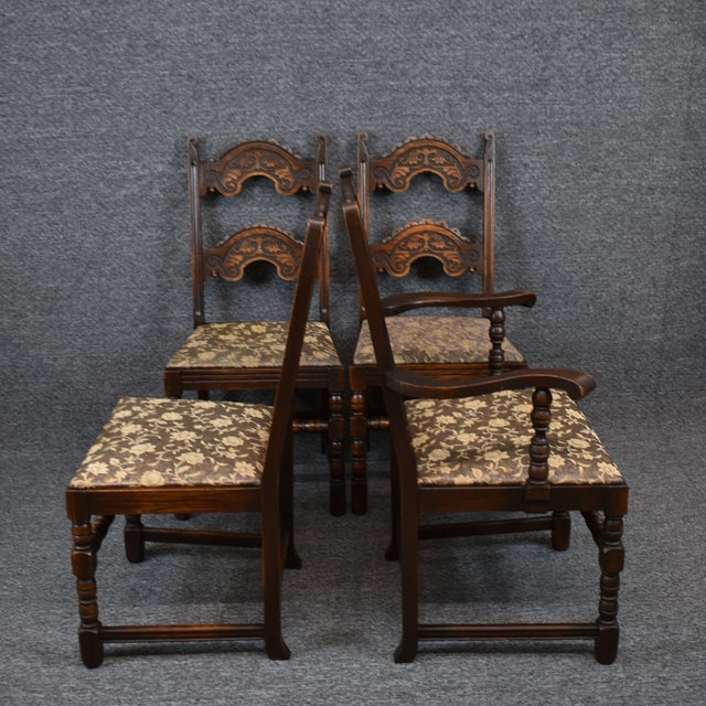 Mid-Century Modern Vintage Solid Carved Dark Oak Jacobean Chairs- Set of 6 For Sale - Image 3 of 11