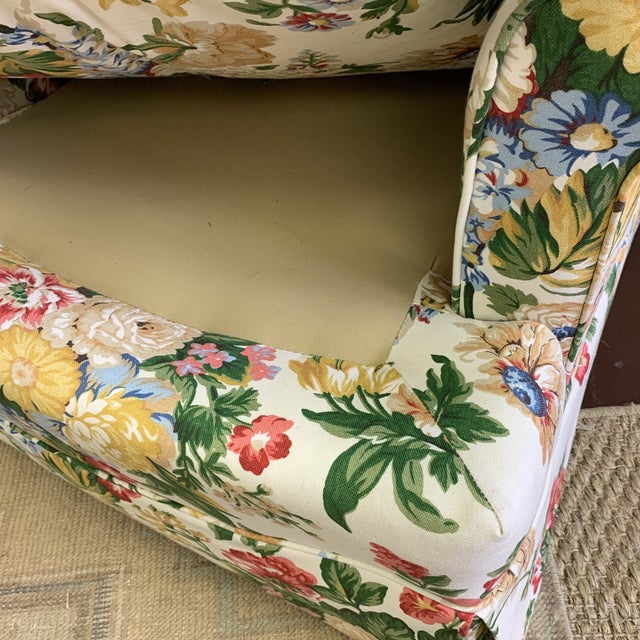 1980s Floral Club Chair - New Upholstery (Vintage Fabric) For Sale - Image 5 of 13