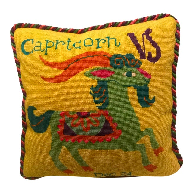 Jonathan Adler Style Vintage Celestial Capricorn Needlepoint Pillow For Sale