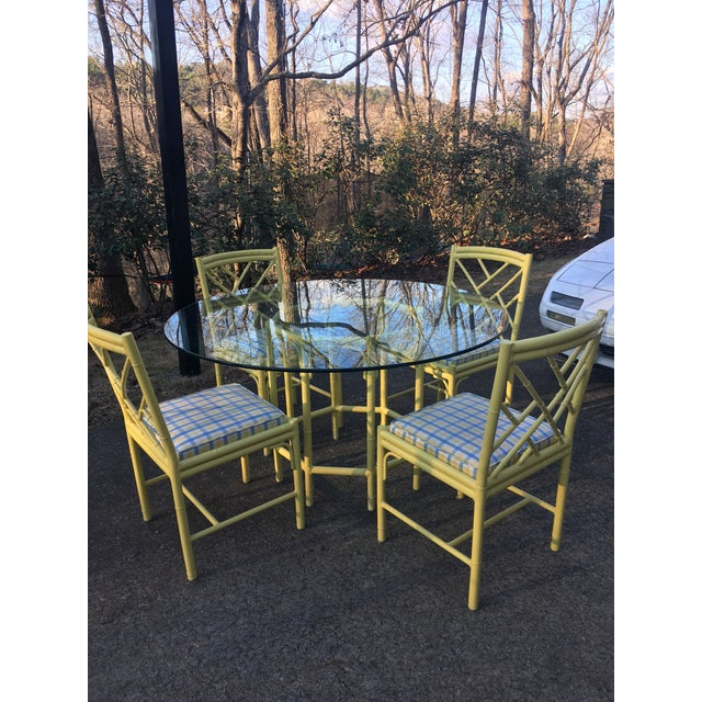 Meadowcraft faux bamboo breakfast table and four chairs. Great vintage condition. Table is 54 inches round. Chairs 34.5...