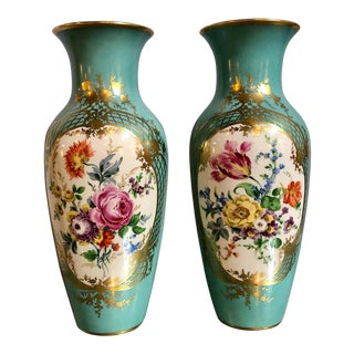 Pair of French Aquamarine Floral Painted Porcelain Vases For Sale