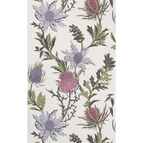 Cole & Son Thistle Wallpaper Roll - Lilac/Cerise/White For Sale