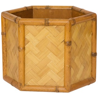 Japanese Style Bamboo Wastebasket For Sale