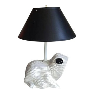 Mid Century Modern Frog Lamp White Italian Porcelain Accent Table Lamp