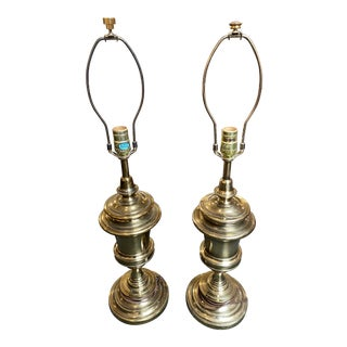 Stiffel Hollywood Regency Brass Urn Table Lamps - a Pair For Sale