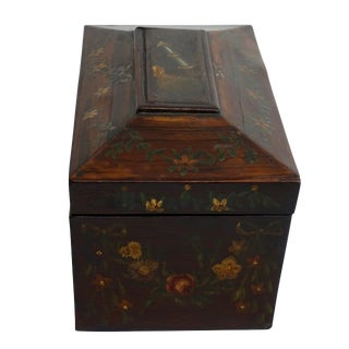 19th Century Traditional Hand Painted Rosewood Tea Caddy Box For Sale