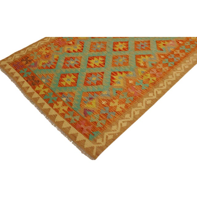 Era Red/Green Hand-Woven Kilim Wool Rug -4'3 X 5'10 For Sale - Image 4 of 8