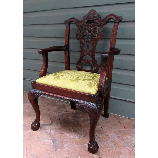 Chippendale Set of Eight 20th Century English Chinese Chippendale Mahogany Dining Chairs For Sale - Image 3 of 10