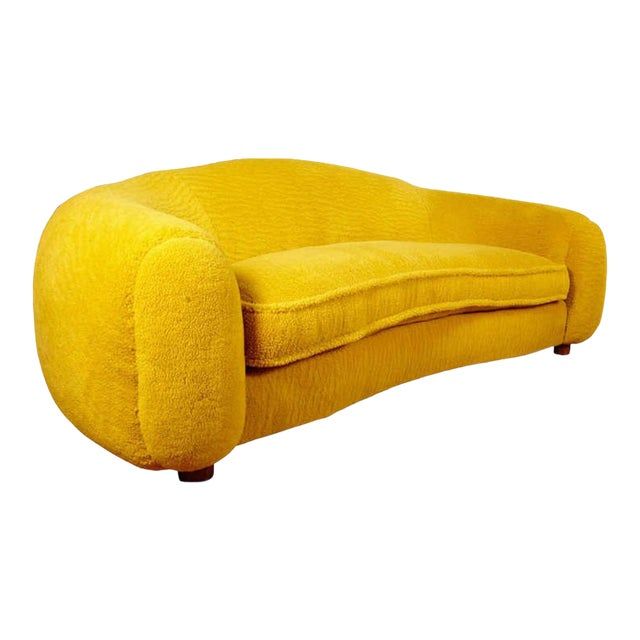 """Jean Royère Genuine Iconic """"Ours Polaire"""" Couch in Yellow Wool Faux Fur For Sale"""
