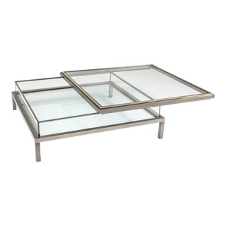 Maison Jansen Sliding Coffee Table in Chrome and Brass - 1970s For Sale