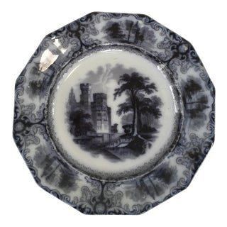 Antique Flow Black Transferware Plate For Sale