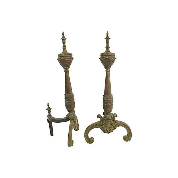 French Antique French Bronze Andirons, Pr For Sale - Image 3 of 4