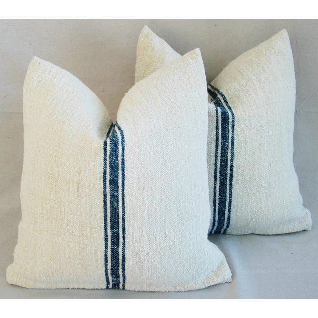 French Grain Sack Pillows - A Pair - Image 6 of 10