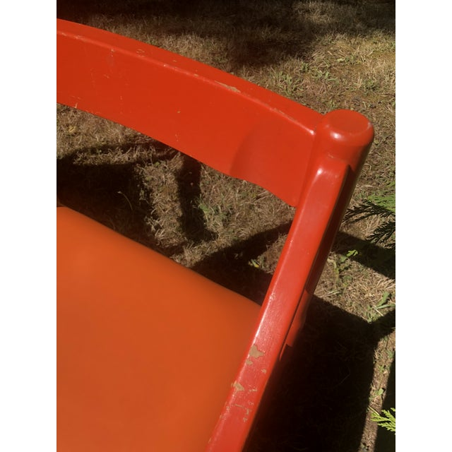 "Orange 1960s Vintage Vico Magistretti ""Carimate"" Chairs for Cassina- A Pair For Sale - Image 8 of 11"