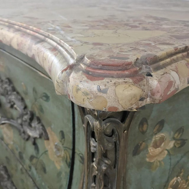 Metal 19th Century French Louis XV Painted Marble Top Commode For Sale - Image 7 of 13