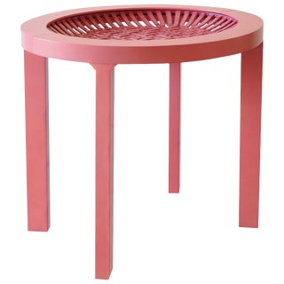 Ceramic and Maple Contemporary Pink Tea Table For Sale