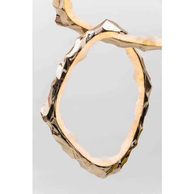 Alabaster Markus Haase, Bronze and Onyx Circlet Chandelier, Usa, 2018 For Sale - Image 7 of 11