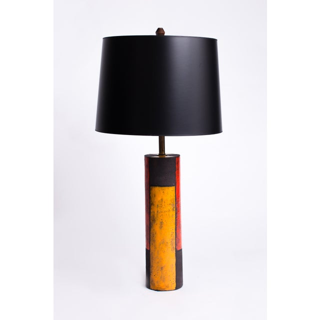 """Striking ceramic """"Mondrian"""" table lamp by Aldo Londi for historic Italian ceramics house Bitossi. With brass mounts and a..."""