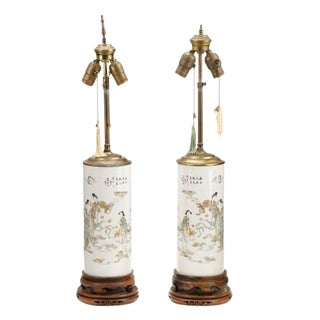 19th/20th Century Antique Japanese Lamps - a Pair