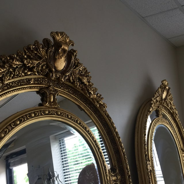 Art Nouveau Gilded Scrolling Floor Mirrors - A Pair For Sale - Image 3 of 8