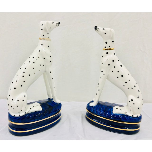 Pair Vintage Painted Porcelain Staffordshire Style Dog Figures. A great housewarming gift or wedding present. Original...