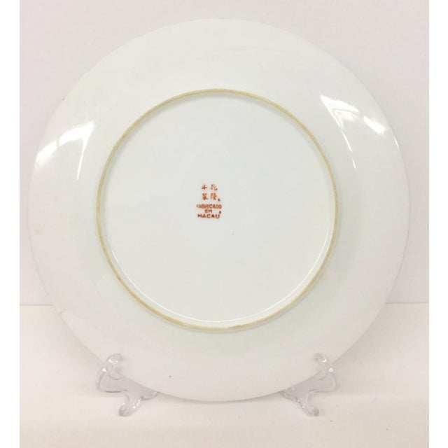 1940s Asian Hand Painted Decorative Plate For Sale - Image 9 of 10