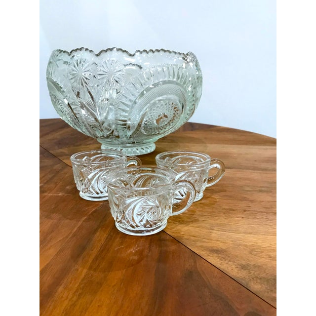 Vintage Cut Glass Punch Bowl & Cups - Set of 11 For Sale - Image 10 of 12