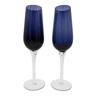 Pair of Hand Blown Amethyst Purple Champagne Glasses With Air Twist Stems For Sale
