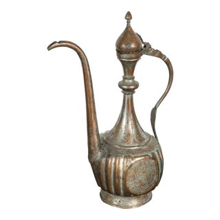 Antique 19th Century Middle Eastern Persian Tinned Copper Ewer For Sale