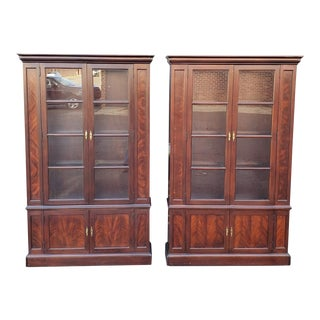 Pair Hekman Furniture Mahogany Glass Door Bookcase Display Curio Cabinets #9514 4806 For Sale