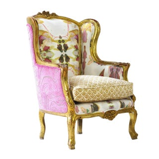 Pink Boho Chic Upholstered Armchair