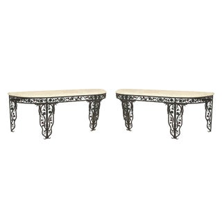 "Vintage Mid Century French Art Moderne Wrought Iron ""D"" Shaped Console Tables For Sale"