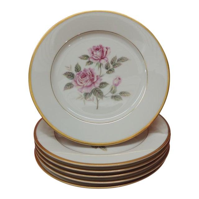 Set of '6' Pink Roses Porcelain Dessert Plates For Sale