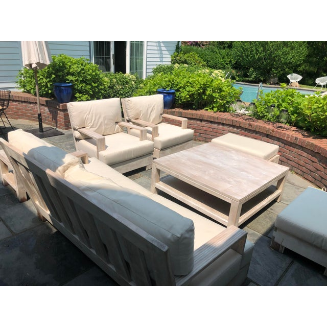 Sutherland Reeded Teak Outdoor Living Room Set | Chairish on Patio Living Room Set id=11196