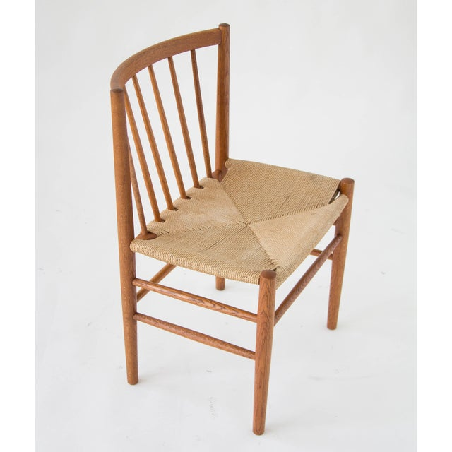 Spindle-Backed Oak and Danish Cord Dining Chairs - S/6 - Image 7 of 10