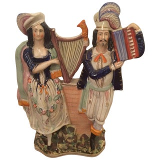 Large Staffordshire Style Musician Couple For Sale