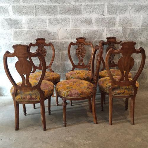 Brown Louis XVI French Dining Chairs - Set of 6 For Sale - Image 8 of 8