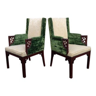 1940's Chinese Chippendale Chairs - a Pair