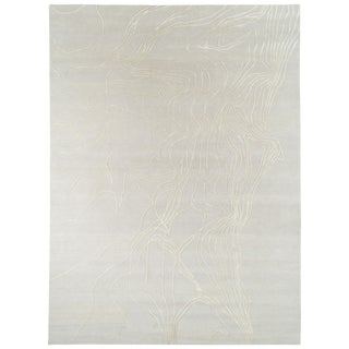 Abstract Organic Wool and Silk Area Rug by Carini - 9′ × 12′ For Sale