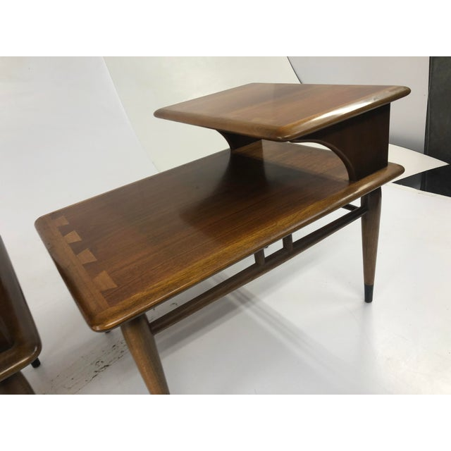 Ash Vintage Mid Century Modern Step Tables - a Pair - Acclaim by Lane Furniture For Sale - Image 7 of 13