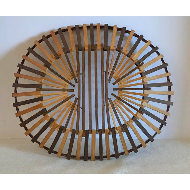 Wood 20th Century Boho Chic Two Color Stick Basket For Sale - Image 7 of 7
