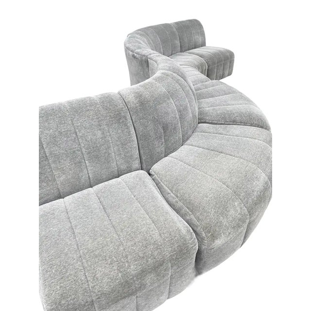 Textile 1960s Mid-Century Modern Serpentine Milo Baughman Modular Sectional Sofa in Gray For Sale - Image 7 of 8