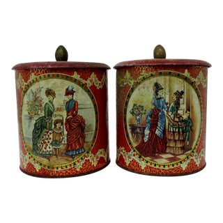 Vintage English Biscuit Tins - a Pair For Sale