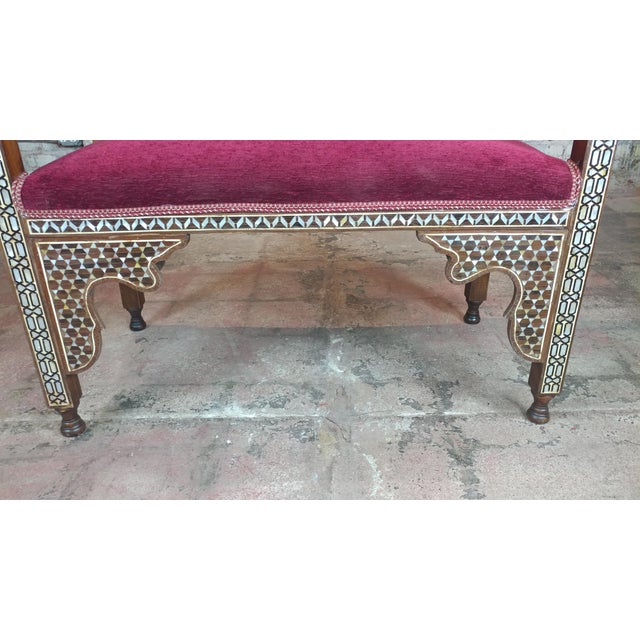 Fabulous Syrian Bench Mother of Pearl Inlaid W/Burgundy Upholstery For Sale - Image 9 of 10