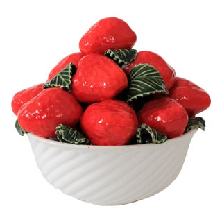 Vintage Decorative Bowl of Strawberries For Sale