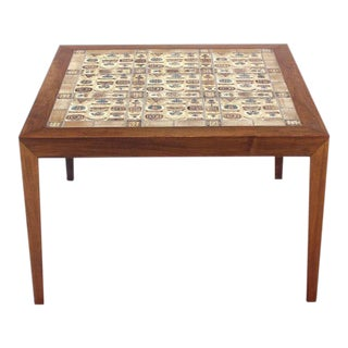 Illums Bolighus Danish Modern Square Rosewood With Tiled Top Coffee Table For Sale