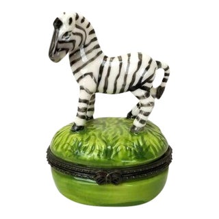 Vintage Late 20th Century Zebra Trinket Box For Sale