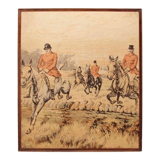 Equestrian Tapestry Framed, English 19th C. For Sale
